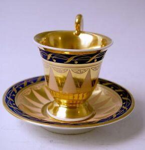KPM BERLIN GOLD TASSE VINTAGE CUP WITH SAUCER GOLDDEKOR KÖNIGSBLAU UM 1815