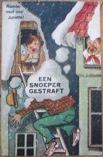 Risque 1918 Postcard: Romeo Man Climbing Into Window in Snow - Color Litho