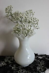 Small vintage French opaline glass vase Portieux France white