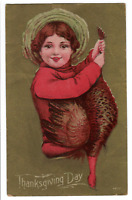 Early 1900s Vintage Thanksgiving Postcard - Child with Turkey unused