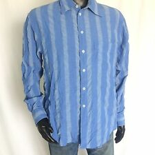 Emporio Armani Mens Dress Shirt Size Large Regular Fit Classic Blue Striped L