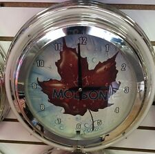 "Molson Canadien Beer Maple Leaf 14"" Double Ring Neon Clock - BEAUTIFUL!!!"