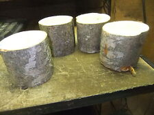 "* White Birch Tree 4 Tea Candle Holders 4 "" High Rustic Cabin/Mantle Camping*"
