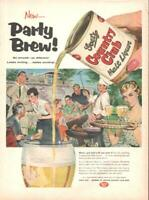 1955 Country Club PRINT AD Beer Barbecue Party Frame for Fun Vintage Decor