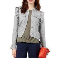 INC NEW Women's 100% Linen Ruffled Basic Jacket Top TEDO