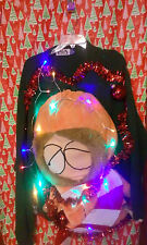 "HUGE south park   "" UGLY "" Tacky Christmas sweater X-LARGE  MENS L@@K LIGHTS :)"