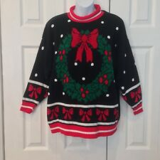 Vintage Ugly Wreath Christmas Holiday Yule Sweater Pullover Party Winner M L