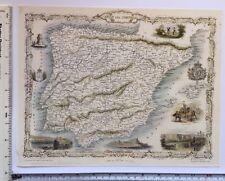 """Antique vintage colour map 1800s: Spain & Portugal: Tallis 13 X 9"""" Reprint"""