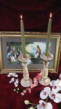 French Onyx Candle Sticks Candelabra Vintage Art Deco Brass Marble Parts Holder