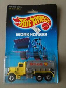 1988 Hot Wheels Workhorses Card Yellow Peterbilt Tank Truck Blackwalls SHELL