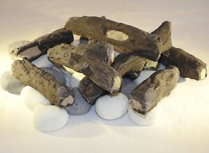 NEW THIS YEAR Gas Fire Replacement Coals Logs 8 PC Log Set 20 Pebbles UK Made