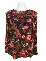 Ann Taylor Loft Red Floral Ruffle Long Sleeve Blouse Top Shirt Size M Women's