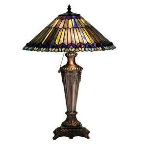 "23""H Tiffany Jeweled Peacock Table Lamp.602"