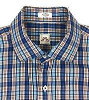Peter Millar Plaid Long Sleeve Shirt Mens Large Button Front Blue