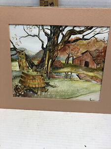 Watercolor & Ink Cabin and Tree Autum Scene by Carolyn Miller