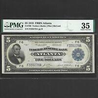FR 790 $5 1918 FEDERAL RESERVE BANK NOTE ATLANTA PMG 35 SHIPS FREE