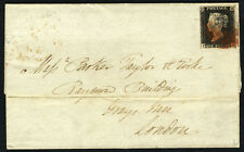 1840 1d NERO (PIASTRA 2 PH) su cover da handsworth a Grays Inn, Londra...