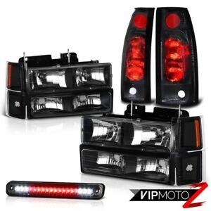 1994-1998 Chevy C1500 C2500 K1500 K2500 Black Headlight+LED 3RD+Tail Light Smoke