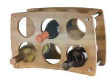 6 Bottle Bamboo Wine Rack Storage Holder Wood Shelf Cellar Decor Liquor Display