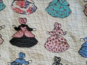 Vintage 1930s Hand Stitched Pieced  Quilted Cotton Appliqued and Embroidered Sun Bonnet Sue TwinFull Quilt 88x79