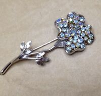 Vintage Coro Pegasus Blue AB Rhinestone Large Flower Pin Brooch ^