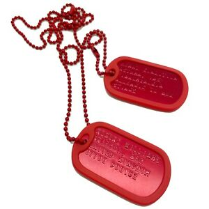PERSONALISED U.S. Dog Tag Set RED Anodized Aluminium With RED SILENCERS & Chains