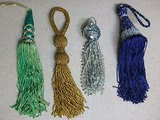 Vintage Drapes Curtains Fringe Beaded Tassels Gold Silver Purple Green Lot