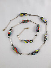Vintage Rectangular Murano Millefiori Glass Beaded Silver Tone Necklace Beads