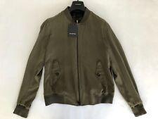 Ermenegildo Zegna Military Green Silk Bomber Jacket Size 50