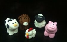 5 Edible farm barn animals horse, White  chicken ,pig,sheep cake cupcake topper