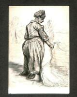 LUCKYPIGEON Vincent Van Gogh Peasant Woman Binding Crops Postcard (C1732)