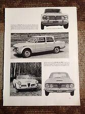 Rara Pubblicità' ALFA ROMEO GIULIA TI/2600 Spider & Coupe' 1962
