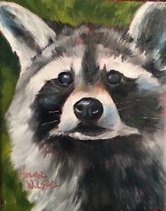 Norma Wilson Original Raccoon Wild Animal  Portrait Painting Art