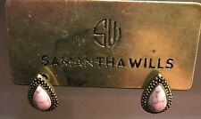 SAMANTHA WILLS~Gold Tone & Black Trim~Pink Marbled~Teardrop Post Earrings~NWT