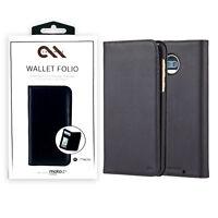 Case Mate Wallet Folio Leather Protection Case For Motorola Moto Z2 Force -Black