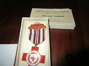 British Red Cross Society Gilt & Enamel Anti Gas Training Medal - GL Brown + Box