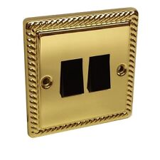 Georgian Brass 2 Rocker 2 Gang 2 Way Switch Wall Light
