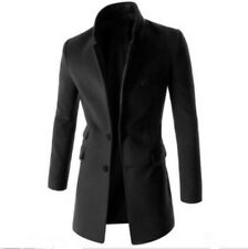 Mens Slim Fit Trench Coat Mid Length Woolen Jacket Two Button Long sleeve Blazer