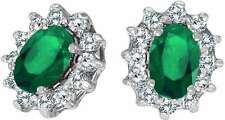 14K White Gold Oval Emerald & .25ctw Diamond Earrings