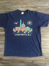 Vintage Washington DC Shirt Mens Size XL Navy Blue 90s Tourist Tee Monuments