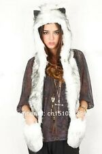 3 in 1 Warm Faux Animal Fur Hat Fluffy Plush Cap Hood Scarf Shawl Gloves Husky