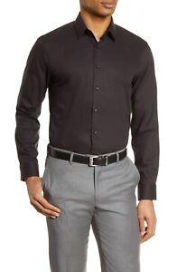 NORDSTROM Non Iron EXTRA TRIM  FIT BUTTONDOWN BLACK DRESS SHIRT 15.5 X 34-35