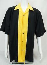 Cruisin USA Camisa Bolos Rockabilly Retro con Botones Negro y Amarillo Men's 2XL
