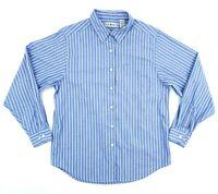 LL Bean Womens 12 Large Blue White Stripe Long Sleeve Button Down Oxford Shirt