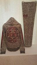 NWT Victoria's Secret PINK Zip-Up Hoodie & Campus Pants Set Ruby Sequin Bling M