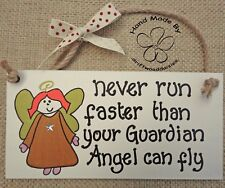 SHABBY CHIC NEVER TRAVEL FASTER THAN YOUR GUARDIAN ANGEL FRIEND CHRISTMAS GIFT