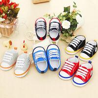 Infant Baby Boy Girl Canvas Crib Shoes Soft Sole Sneakers Anti-slip Prewalker UK