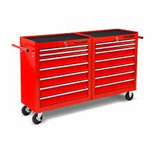 EBERTH Chariot d'atelier à outils servante caisse 14 tiroirs à roulettes rouge