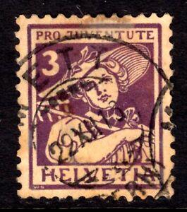 SWITZERLAND SEMI-POSTAL #B4 3c VIOLET, 1916, VF, USED