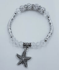 Clear Crystal Glass with Curved Tube Bead & Star Fish Stretch Bracelet - JTY944